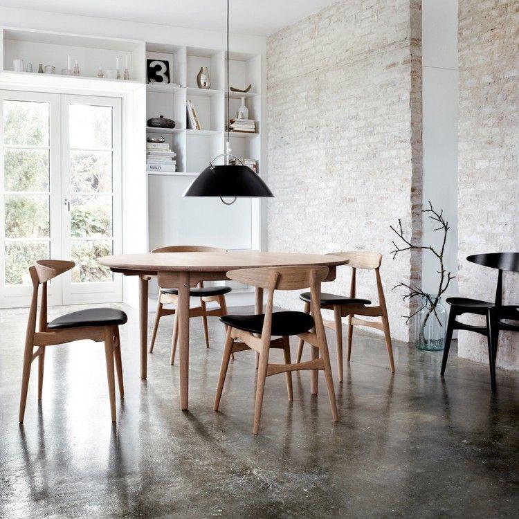 salle à manger de style scandinave, ambiance loft, meubles en bois ... - Table Salle A Manger Beton Cire