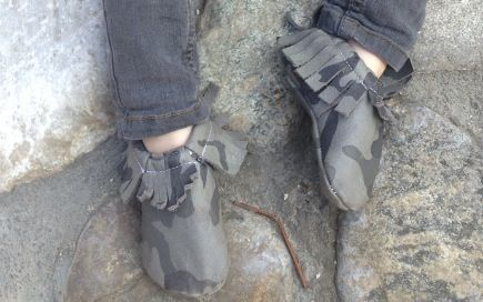 military/camo moccasins, leather and soft soled.  Best company ever!!!! great price!!!