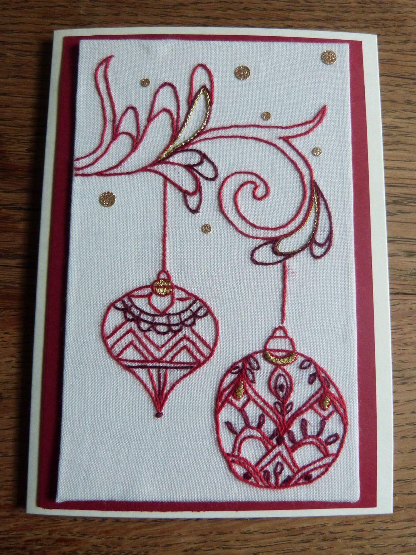 Plein feux sur les fêtes de noël pour cette carte brodée : Cartes par 1-fil-pour-ylannie