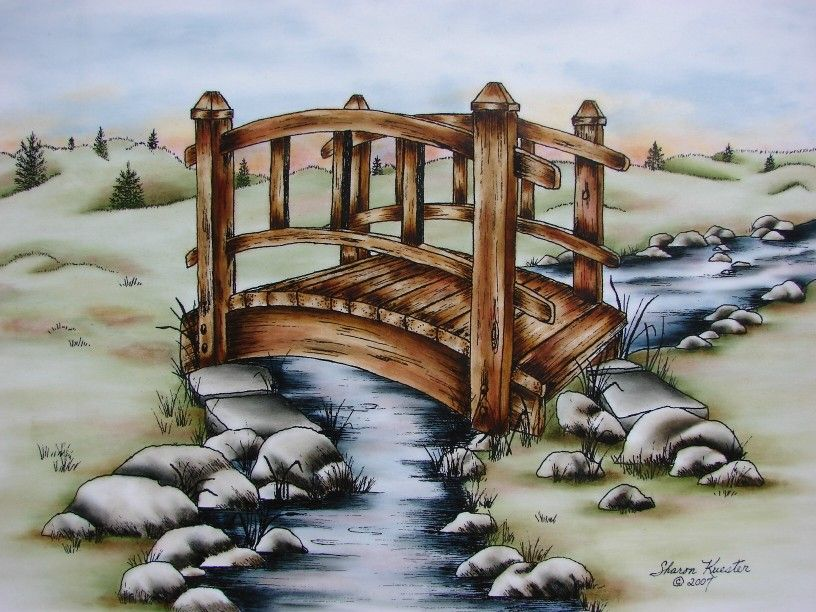 Wooden Bridge This Is A Pen Ink With Oil Rouging Pattern Packet If You Wish To Purchas Landscape Pencil Drawings Art Drawings For Kids Pencil Art Drawings