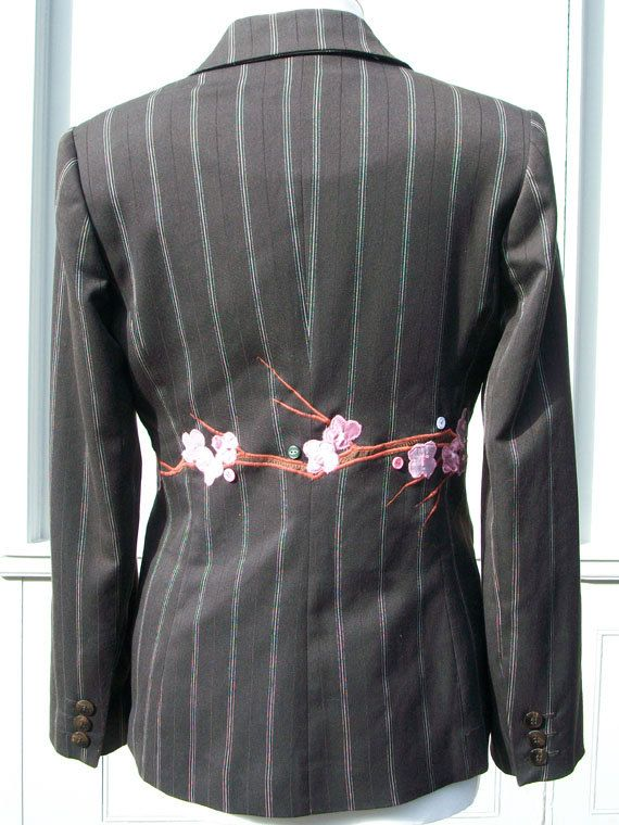 Customised Upcycled Brown Pinstripe Women's Jacket with blossom design