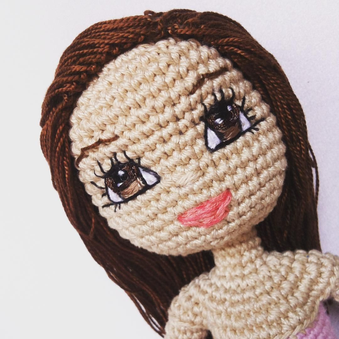 Image Of Embroidered Face Only For Reference Crochet Dolls With