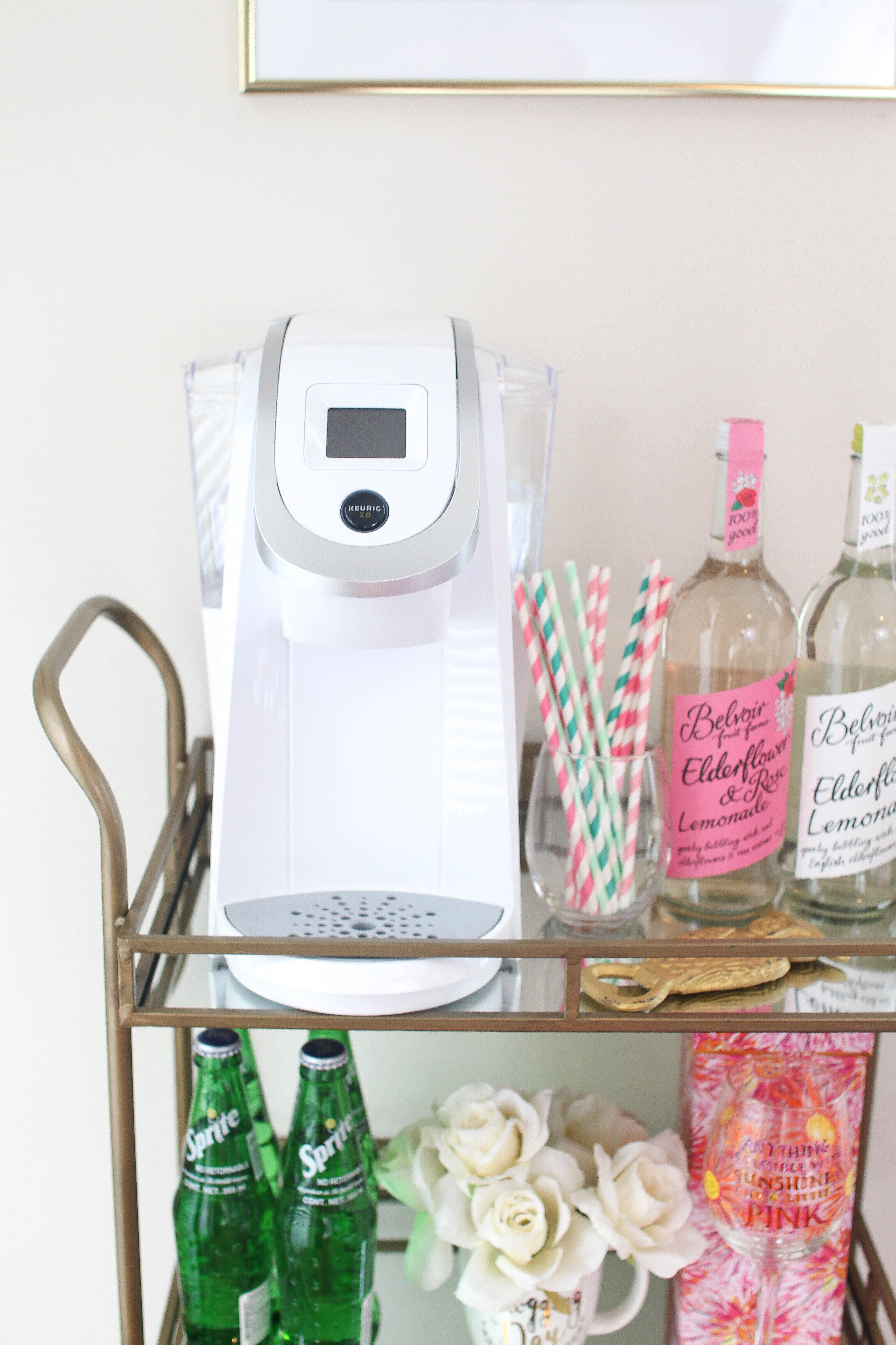 My Bar Cart + How I Easily Decorated it using photoshop! white Keurig decor and other bar cart decor. home decor by lauren lindmark on daily dose of charm