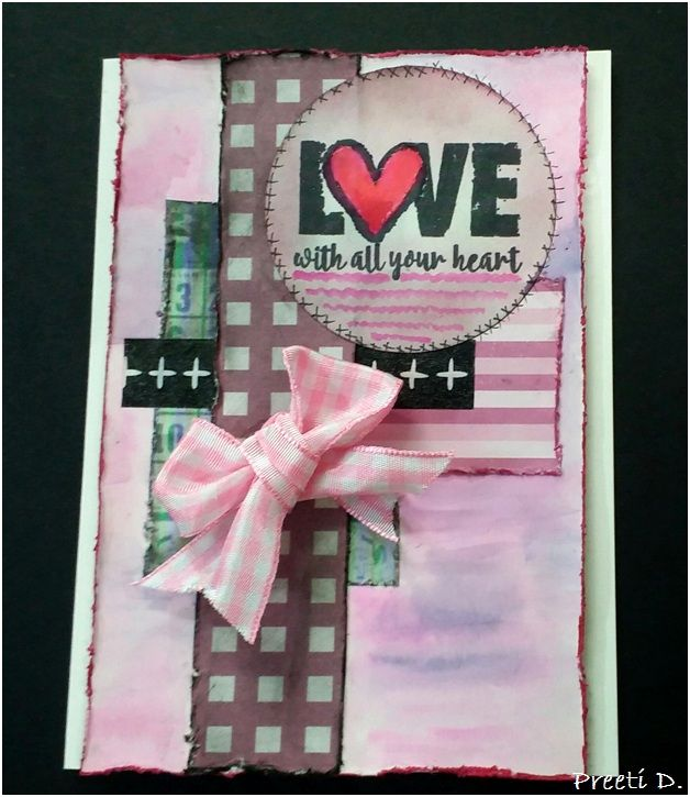 Handmade card by Preeti D. using the Love From Me digital set by Verve. #vervestamps