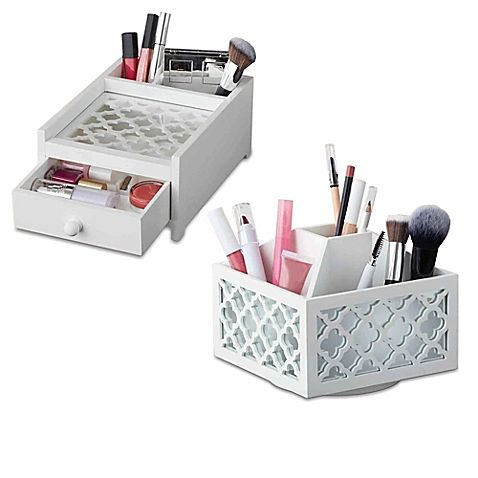 Cosmetic Organizer Collection in White  sc 1 st  Pinterest & Cosmetic Organizer Collection in White | Organizing | Pinterest ...