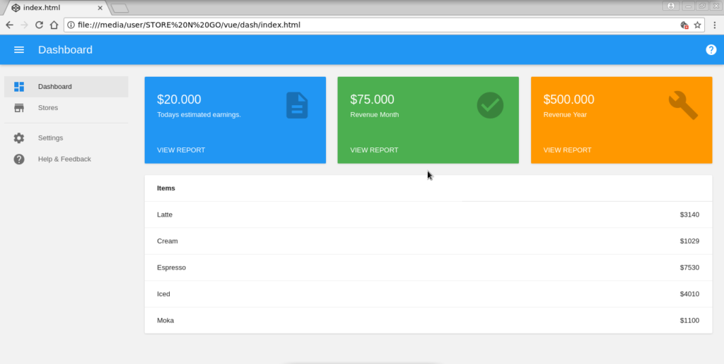 Dashboard With Vue Js Material Design Dashboard Material Design