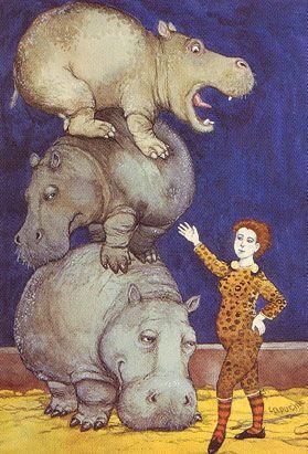Nijlpaard Dompteuse van Mazilla Capucina Postkaart