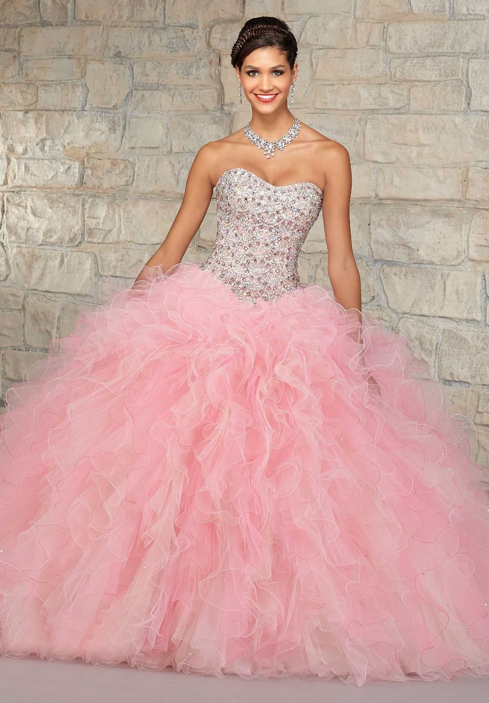 Elegant-Ball-Gown-Ruffled-Organza-Skirt-Beaded-Crystals-Top- | Pink ...