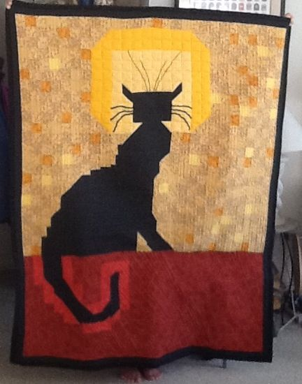 Chat noir. Black cat quilt