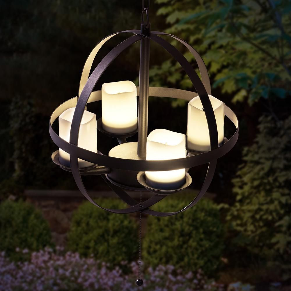 Sunjoy Medium 4 Light Black Battery Operated Led Hanging Outdoor Chandelier 110603012 The Home Depot Outdoor Chandelier Gazebo Lighting Orb Chandelier