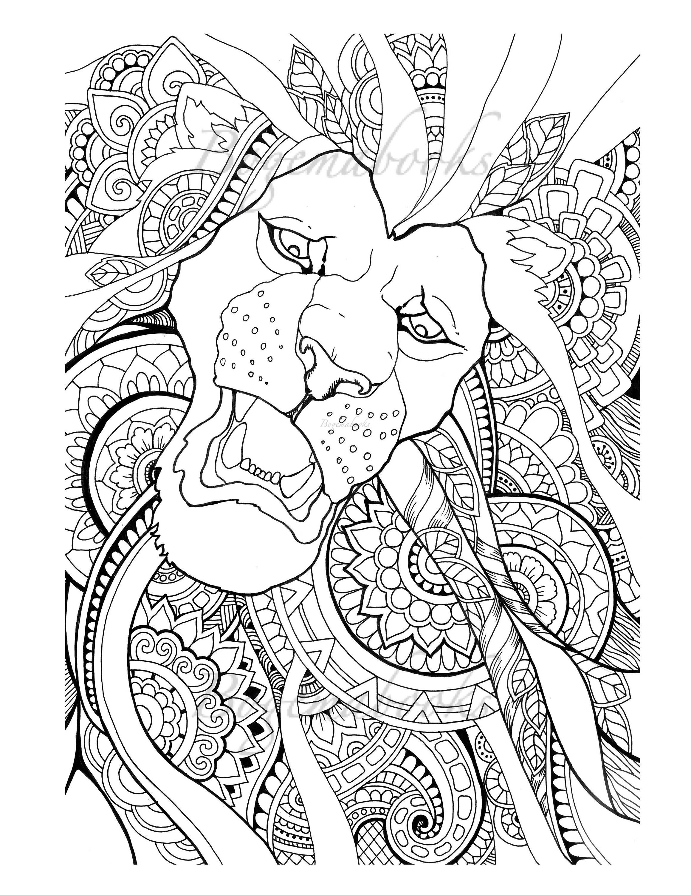 - Great Lions (Adult Coloring Books, Digital Coloring Pages