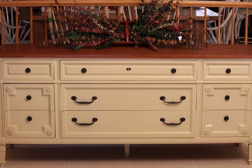 Vintage Painted Extra Long Dresser