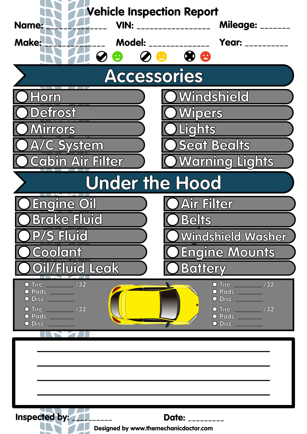 6 Free Vehicle Inspection Forms Modern Looking