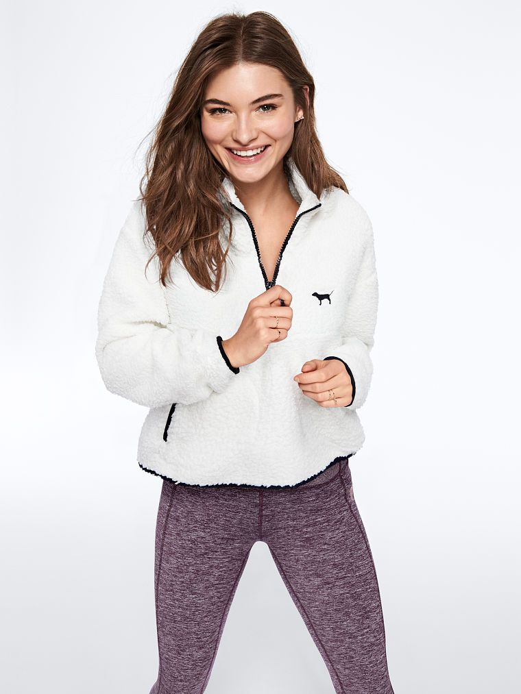 79f1b647b77d9 PINK Crop Sherpa Quarter-Zip   Products in 2019   Anorak jacket ...