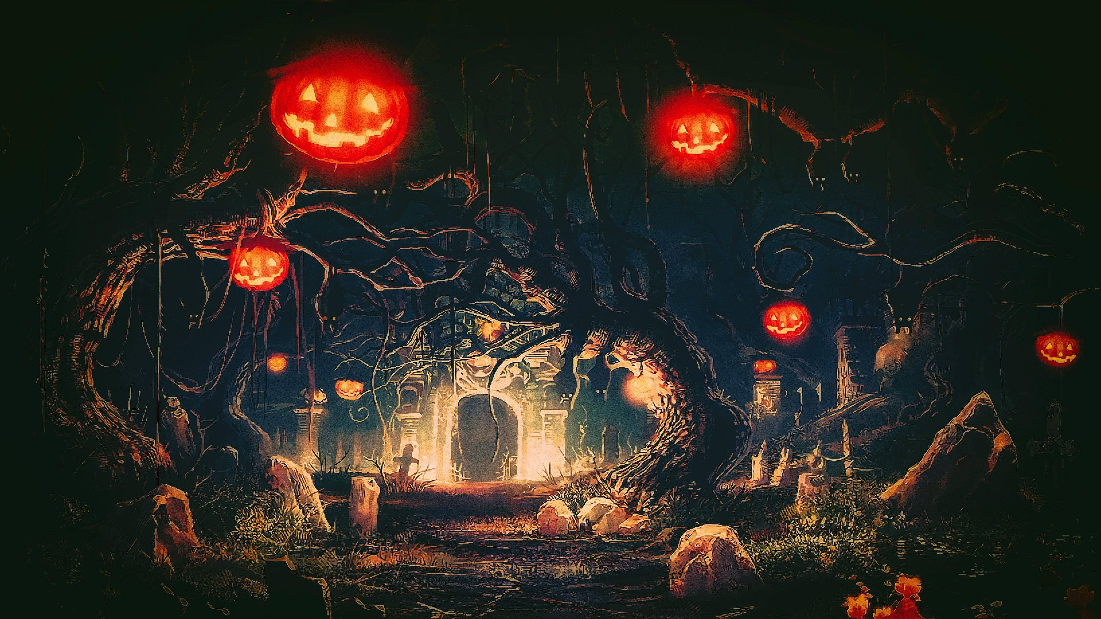 trees and castle digital wallpaper Halloween Terror