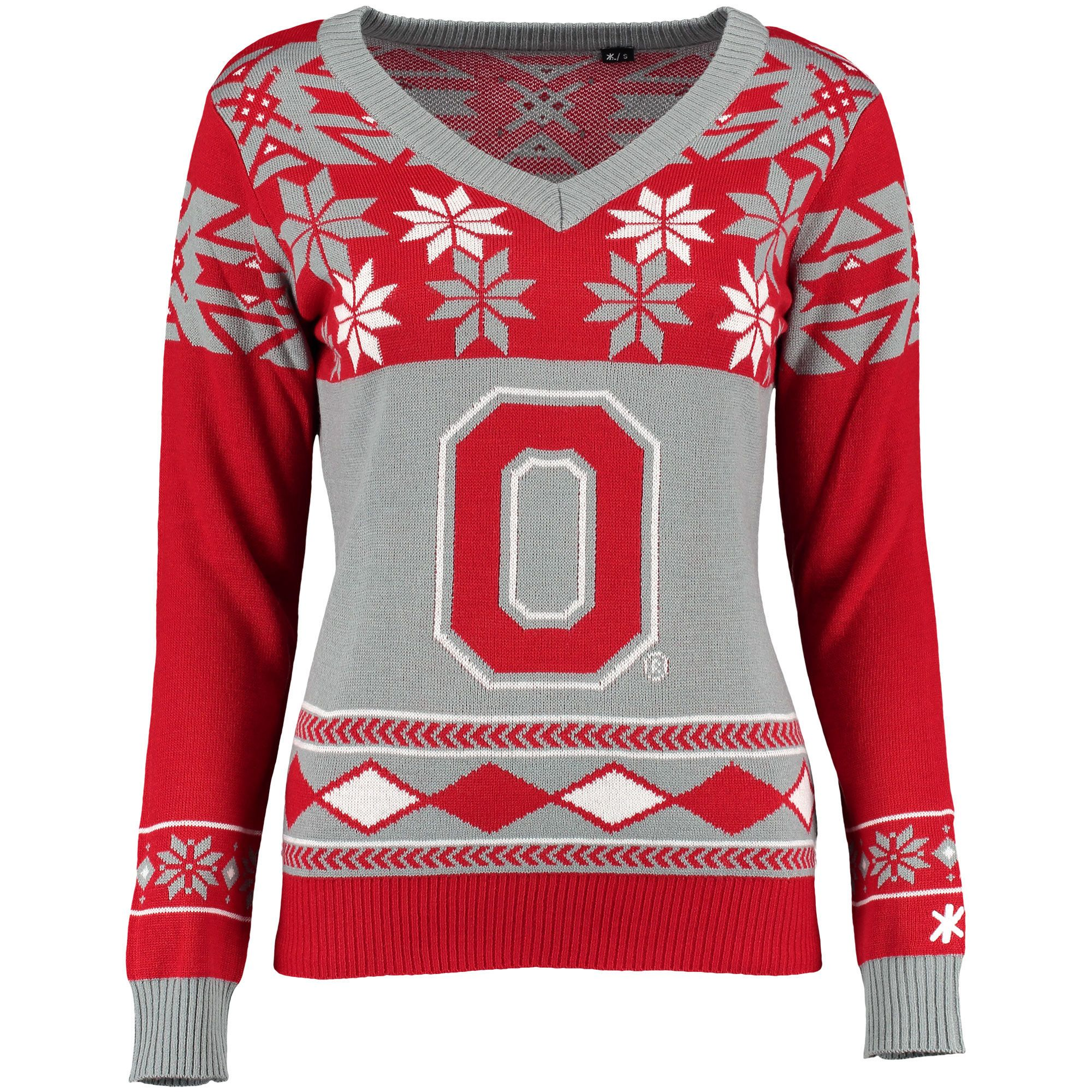 Ohio State Buckeyes Klew Women's Ugly Christmas V-Neck Sweater - Scarlet