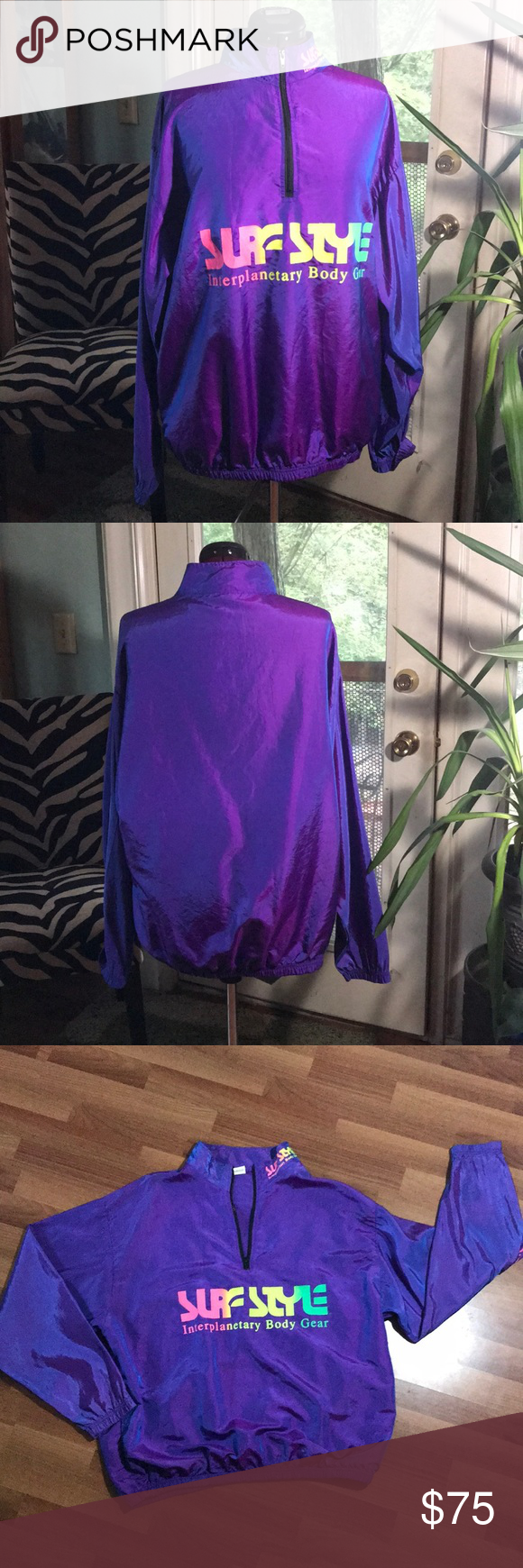 VINTAGE 1980s SURF STYLE WINDBREAKER PURPLE Vintage