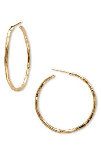 Medium Hammered Hoop Earrings