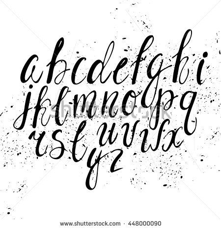 Vector hand-written alphabet. Black and white ink. cute