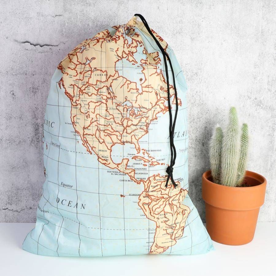 world map print travel laundry bag by lisa angel homeware and gifts | notonthehighstreet.com