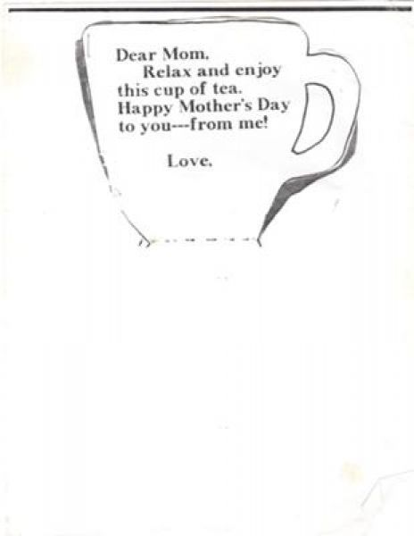 Cup Of Tea Card Template On Mothers Day Im A Little Teapot Craft Mothers Day Crafts Teapot Crafts Mom Poems