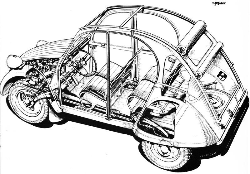 citro u00ebn 2cv cutaway drawing