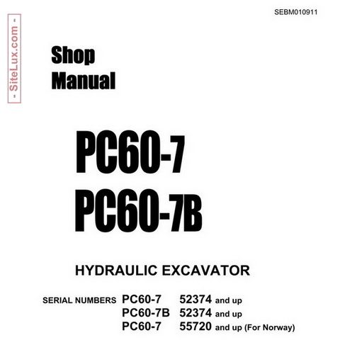 Komatsu PC60-7 & PC60-7B Hydraulic Excavator Shop Manual