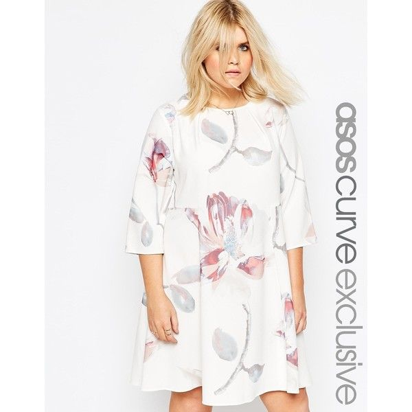 Asos Womens Curve Swing Dress In Oversized Floral Print Multi - Dresses