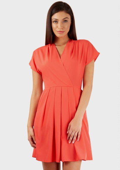 Coral Cross Over Belted Dress | Dresses maxi midi short jurken Kleid ...