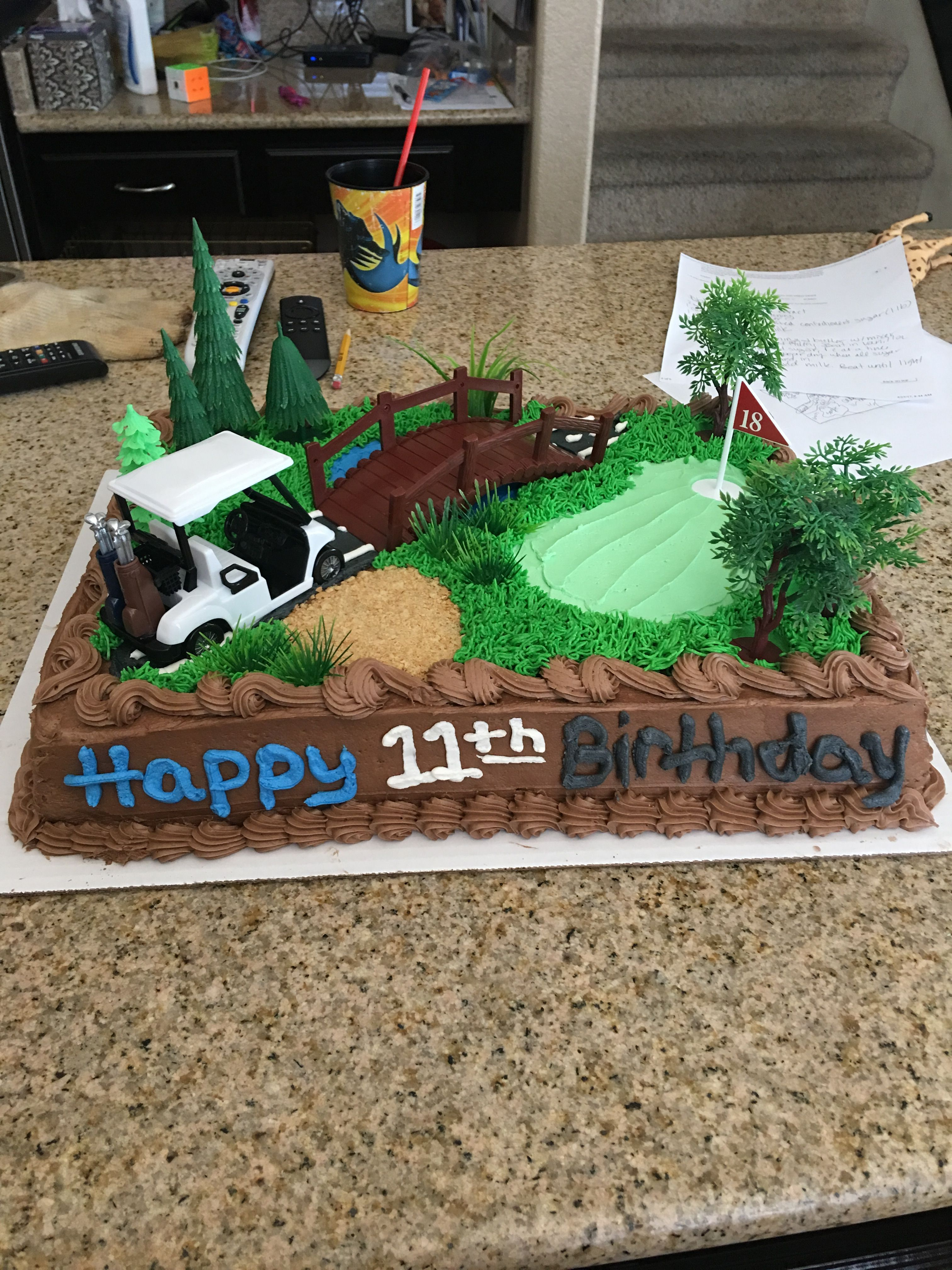 Costco Cake Ordered Plain Golf Toppers Grass Wilton Tip Graham Crackers For The Sand Pit