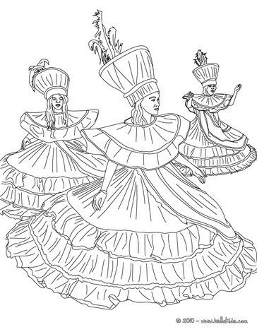 Baianas Dancers Rio Carnival Coloring Page Coloring Pages
