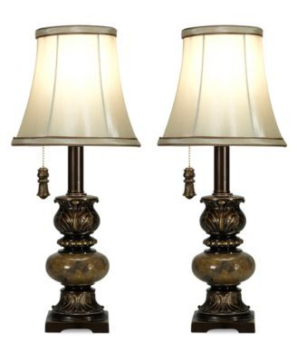 Stylecraft set of 2 trieste marble accent mini table lamps macys com