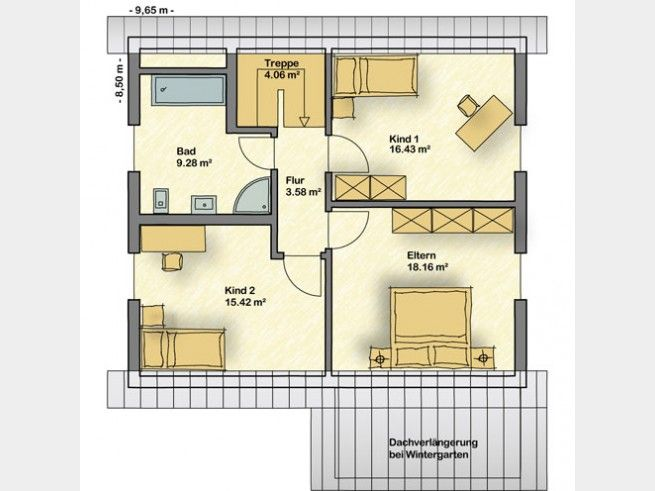 Einfamilienhaus grundriss mit maße  Grundriss DG Creatione Uno M #Einfamilienhaus von Partner Haus ...