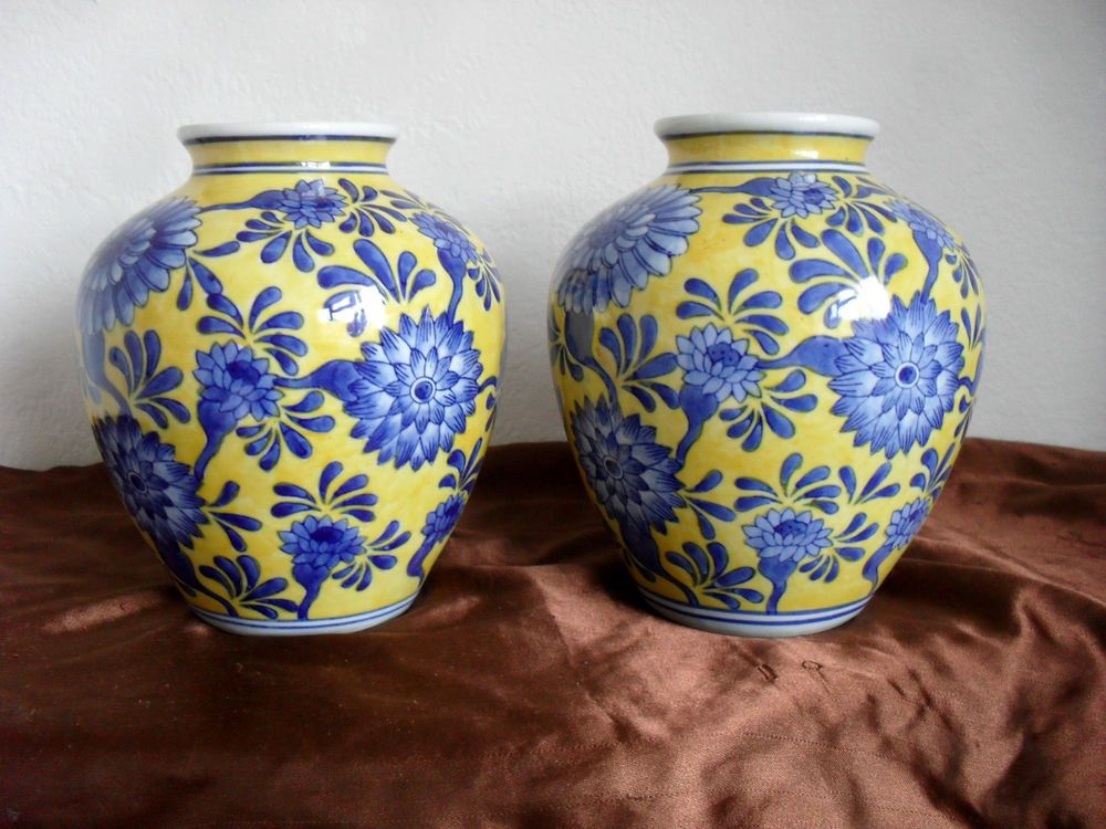Chinese Ceramic Vases Far East Oriental Pottery Yellow And Blue