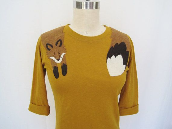 Wrapped Fox T-shirt in Mustard Crew Neck 6c6516e2267