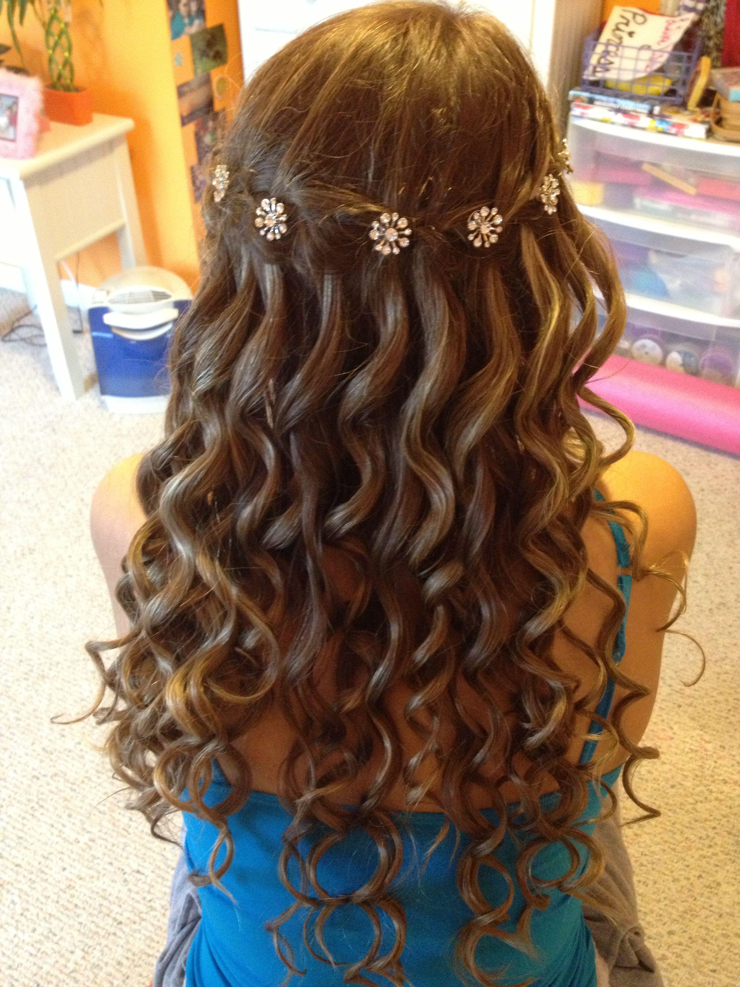 waterfall braid with curls hair styles pinterest
