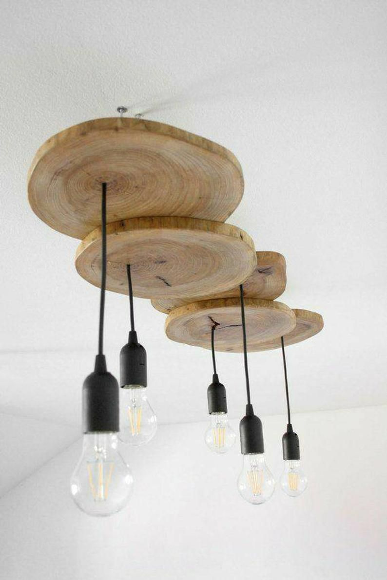 Rustic Wooden Pendant Light Natural Wood Chandeliers Vintage