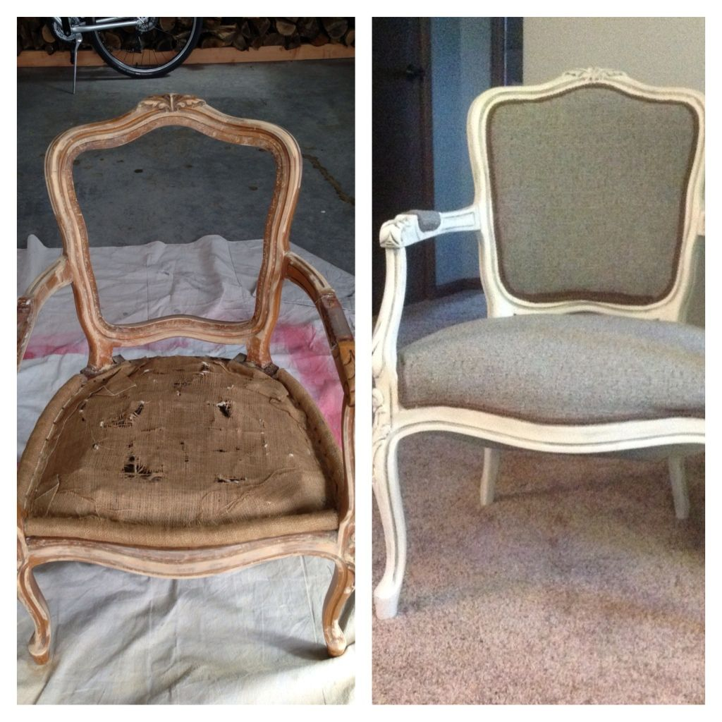 Queen Anne Chair redone. I painted it in an antique white with