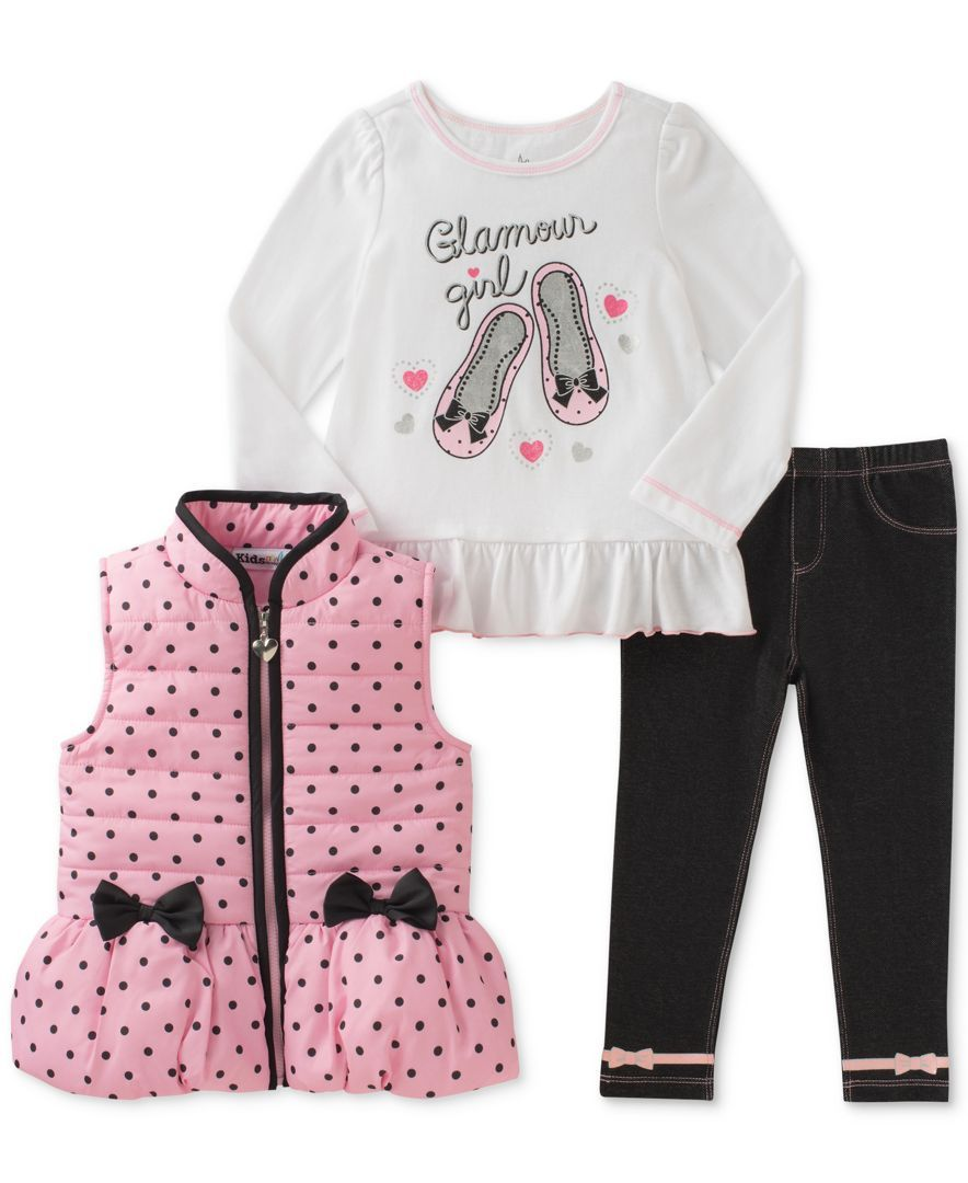 Shirt and Pants Toddler Girls size 3T NEW Kids Headquarters 3-Piece Set: Vest