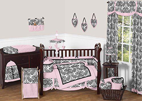 Pink And Black Damask Sophia Girl 9pc Girl Bedding Crib Set Sweet