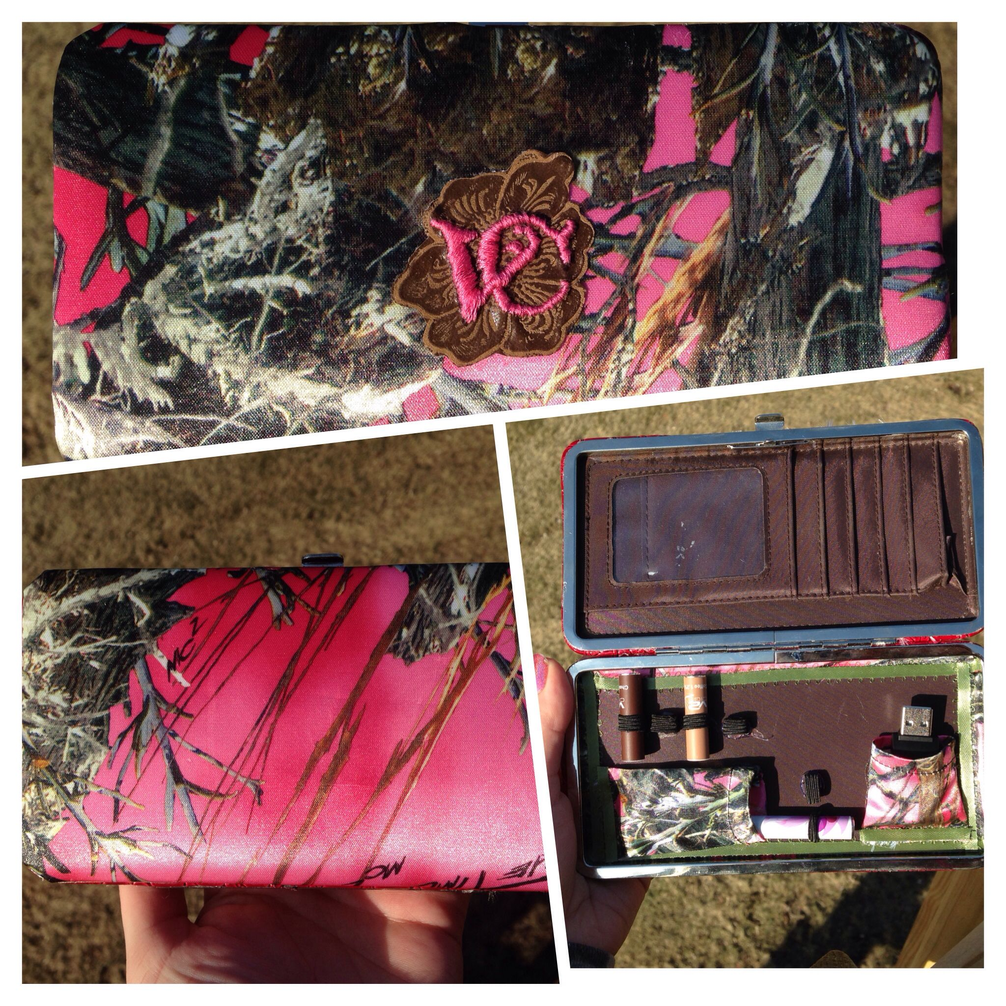 I made a pink camo vape carrying case. Fabric from Joann's, clutch from 2nd hand store for $3, I used elastic from Walmart and satin stitched the vapor couture emblem on a flower pattern piece of faux leather and used fabric glue to put it on the front.