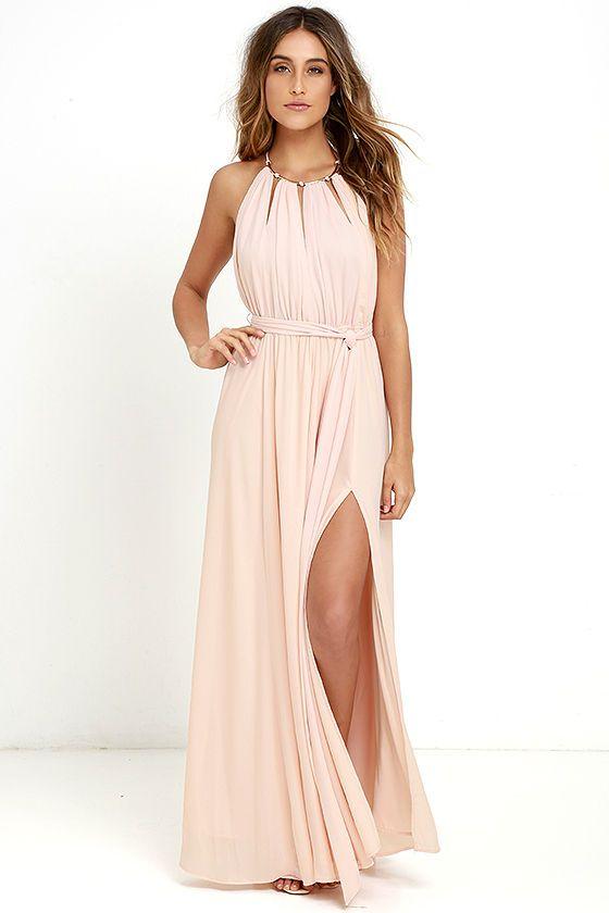 Gleam and Glide Blush Pink Maxi Dress | Kleider machen leute ...