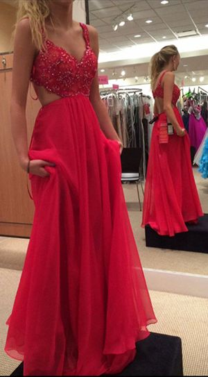 68c61e33303e Spaghetti Strap Lace Bodice Prom Dress,Red Prom Gown,Chiffon Backless Prom  Dress,Red Long Formal Gown 2017,Sleeveless Prom Gowns,Sexy Prom Dress,A-line  ...