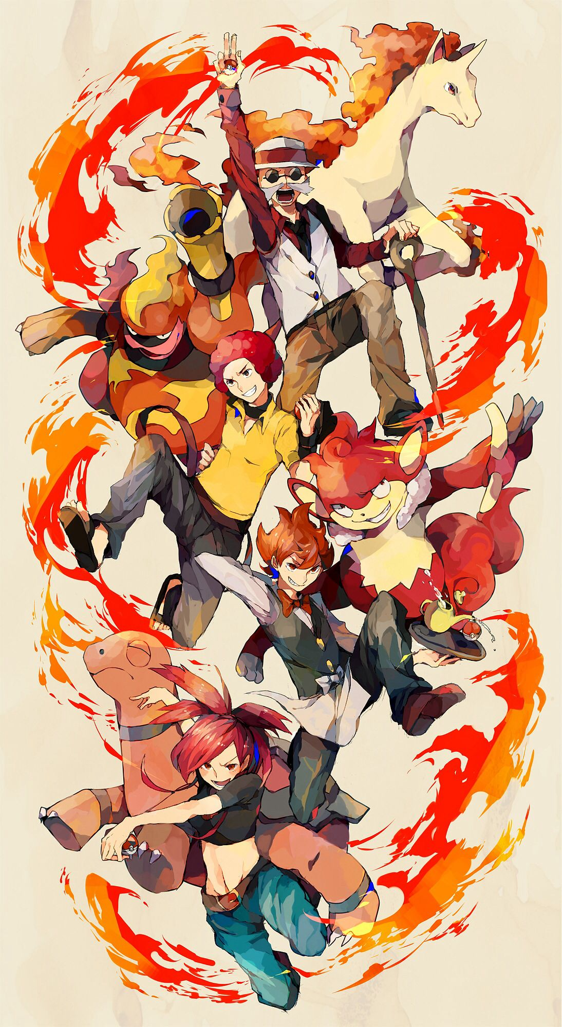 Fire type gym leaders Pokemon fan art, Pokemon fan, Pokemon