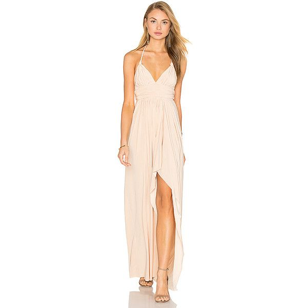 MISA Los Angeles Ever Maxi Dress ($215) ❤ liked on Polyvore featuring dresses, halter top maxi dress, halter-neck tops, halter neck dress, pink halter dress and pink maxi dress