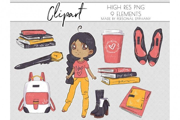 Photo of Cute Planner Girl Clipart, Dark Skin Clip Art, Books Illustration PNG by Personal Epiphany | TheHungryJPEG.com