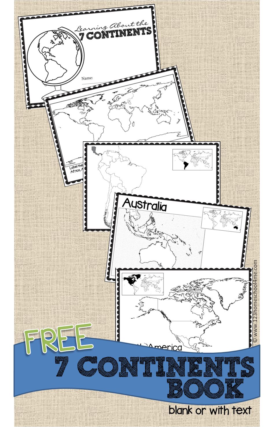 FREE Continents Book for Kids 3rd grade social studies