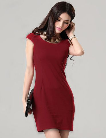 Korean Style Round Neck Slim Fit Pure Color Dress | Item Code 700213 at M.EastClothes.com