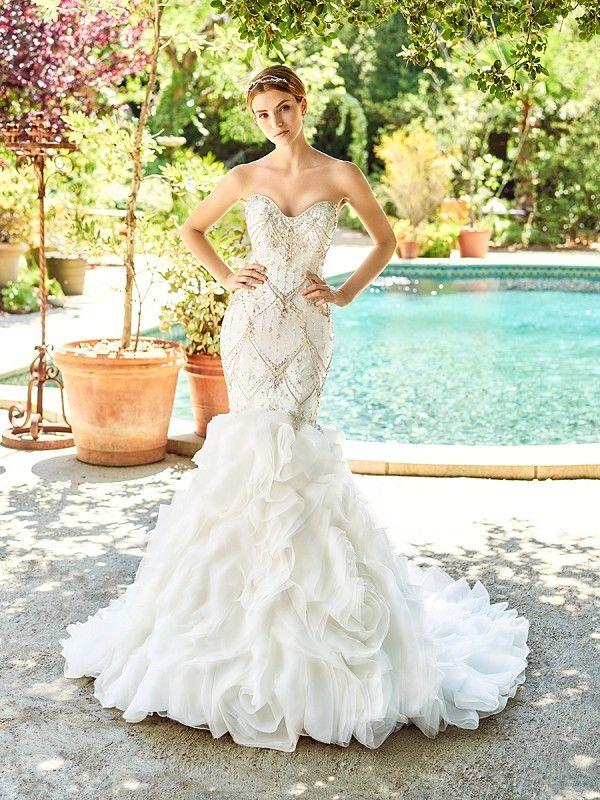 Val Stefani Style Copeland Beaded Organza Mermaid Wedding Dress With Textured Skirt