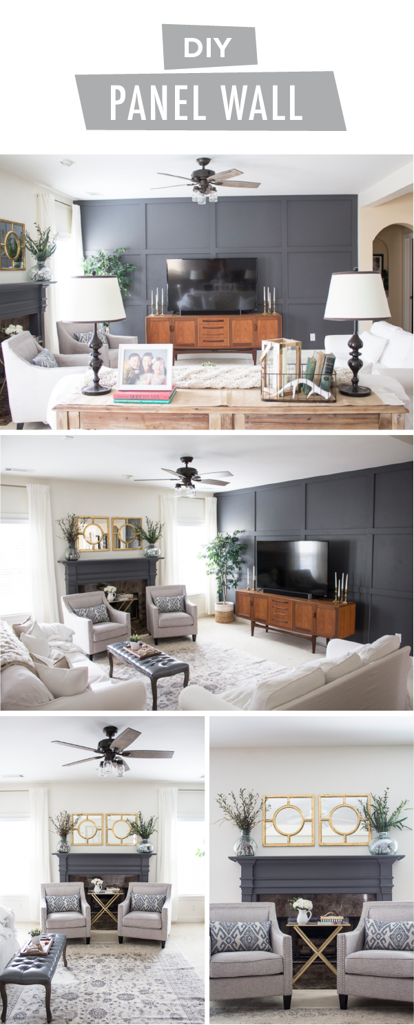 Chic Family Room Makeover with DIY Panel Wall | Dark grey color ...